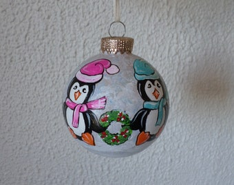 Hand painted  ornament, penguin Christmas tree decoration