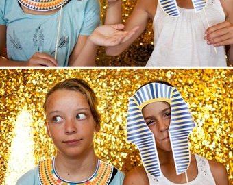 Egyptian King Tut and Queen Nefertiti Printable PHOTO BOOTH PROPS - Editable Text >> Instant Download   Paper and Cake