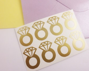 25 Diamond ring stickers Ring decals Bachelorette party stickers Wedding invitations seal Enagagement party decor Bridal shower stickers