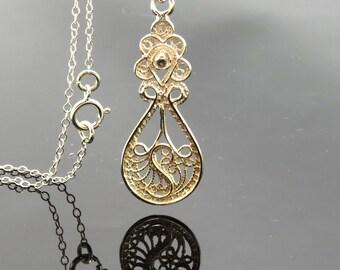 Yemenite filigree silver necklace , filigree pendant , Yemenite jewelry , ethnic jewelry , new age jewelry , Moroccan jewelry