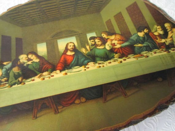THE LAST SUPPER Jesus Laminated on Tree Branch Wooden Vintage