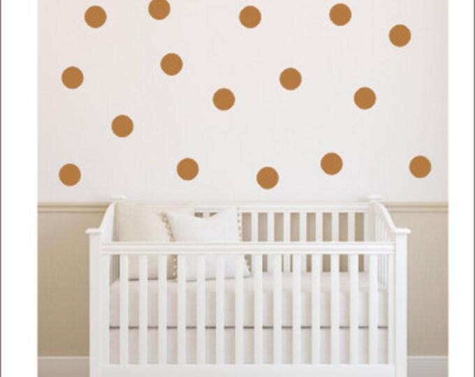 Copper Polka Dot Decals Dots Polka Dot Decals Peel and Stick Vinyl Dots Wall Decals Nursery Dots Office Accent Wall Dots Trendy Polka Dots