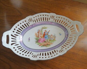 Porcelain Bowl, Reticulated Cutouts, Antique Schwarzenhammer Display Plate, Romantic Couple and Castle, Bavaria