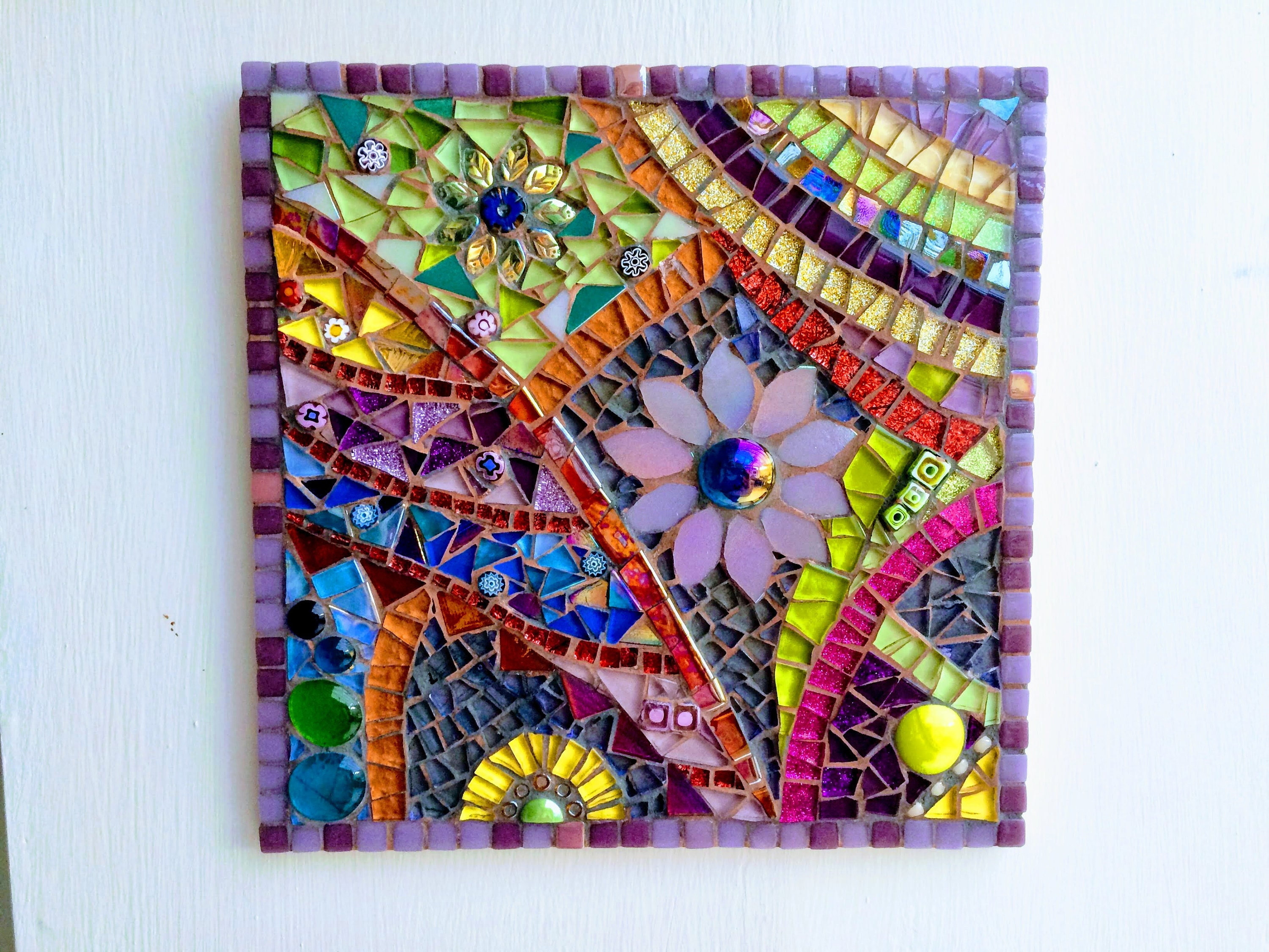 Handmade glass abstract flower mosaic picture Mosaic wall art Unique ...