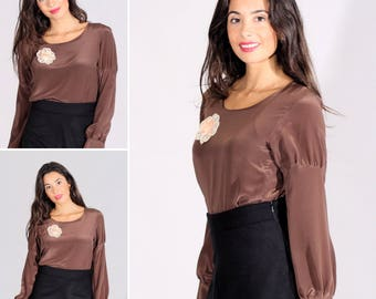 Silk blouse, brown blouse, winter blouse, chic blouse, winter blouse, limited edition, elegant blouse. Sizes 36 to 44 or MADE TO MEASURE !