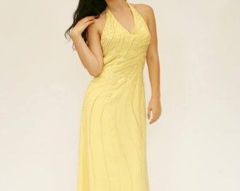 20% OFF SALE 90's Beaded Evening Gown, Yellow Chiffon Prom Dress, Maxi Halter Dress, Halter Dress