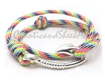 Rainbow, Rainbow Paracord, Paracord, Paracord Bracelet, Fish Hook, 550 Paracord, Nautical, Nautical Bracelet, Survival, Survival Bracelet