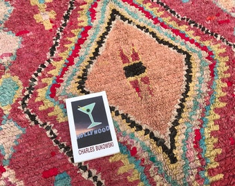 """On Hold-FREE SHIPPING!!! """"STELLA"""" Boho Chic Rug Vintage Moroccan Boucherouite in Multi Colors (Los Angeles)"""