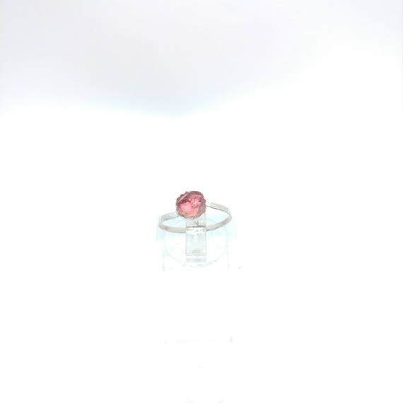 Raw Watermelon Tourmaline Crystal Ring | Sterling Silver Ring Sz 5 | Rough Tourmaline Ring | Uncut Gemstone Ring | Raw Tourmaline Jewelry
