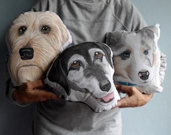 Custom Pet Portrait Plush Pillow, Personalized pet pillows, gift for pet lovers, cat portrait, dog portrait