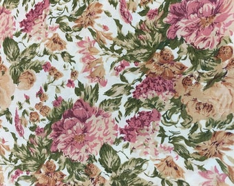 Bold Floral Print Fabric of Pink and Tan on a Cream Background, #dr167