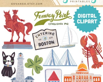 BOSTON Digital Clipart Instant Download Illustration Travel Massachusetts North America Clover Lighthouse State Fenway Park Lobster Citgo