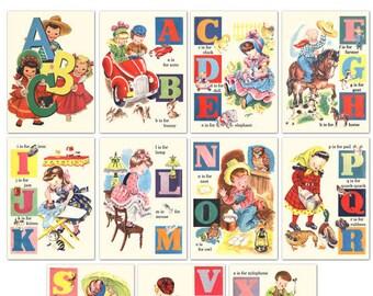 Digital | Print at Home | 5x7 Children's ABC Alphabet Flash Cards Vintage Retro Style