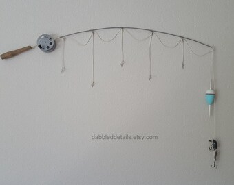 Fishing Rod Pole Frame - Silver Pole  - No Photo Frames - 5 Strings Plus Bobber(s)/Lure(s)