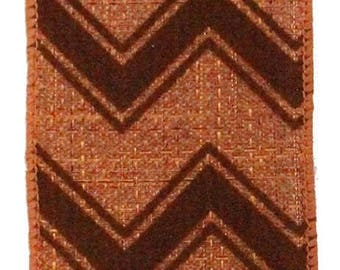 "2.5"" brown chevron ribbon, copper chevron ribbon, chevron ribbon, wired ribbon, brown ribbon, copper ribbon (10yards)"