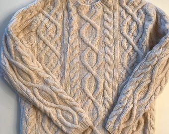 Fisherman Knit Sweater - Yummy & Toasty - Creamy Oatmeal Cable Knit Pullover Sweater - For Men or Woman - S / M