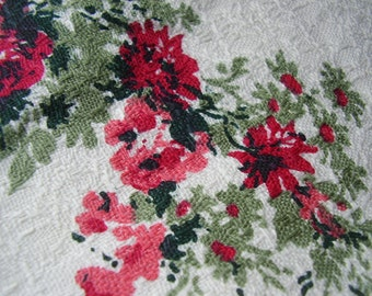 Vintage 1950's Mid Century Myra Color Vat Color Red Roses White Barkcloth Cotton Fabric, 2 yards plus