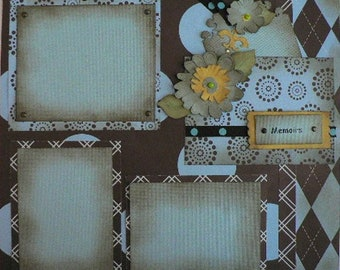 Blue and Brown Retro 12 x 12 Scrapbook Layout Pattern