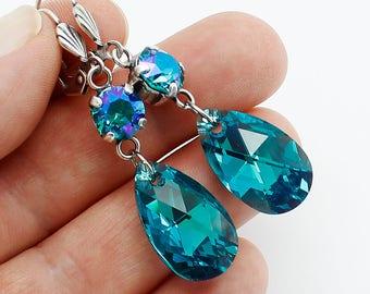 Earrings, Turquoise Earrings, Teal Earrings, Long  Dangle Earrings, Casual Earrings, Blue Zircon Swarovski Crystal, Oxidized  Silver Modern