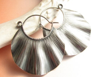Sterling Silver Statement Earrings, Large Silver Hoops, Argentium Earrings Ruffle Hoops, Large Silver Earrings, Metalsmith Hoop Earrings