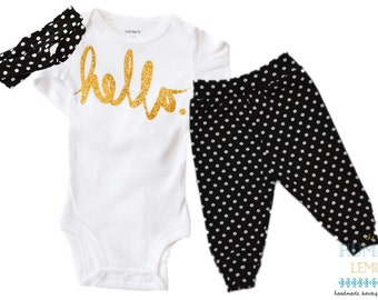 Baby Girl Coming Home Outfit: Hello Bodysuit, Black and White Dot Legging Pants and Turban Style Headband