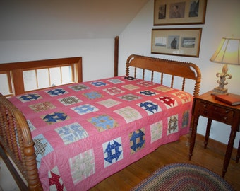 Vintage Churn Dash Quilt.  Hand Quilted.  1920s. Very Good Condition.  Great Fabrics.