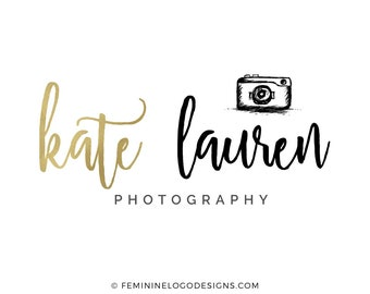 Photography logo, Feminine logo, Black and gold photography logo, Camera logo design, Gold logo, Photographer logo, Watermark logo camera