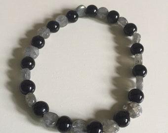 Labradorite & Black Jasper (Basanite) Stretch Bracelet