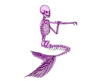 Mermaid Image, Skeleton Image, Mermaid Skeleton Image, Mermaid Cutout, Mermaid Skeleton Cutout, Vintage Mermaid Template, Halloween Template