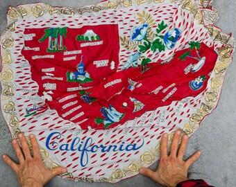 California Vintage Scarf Souvenir Silk Map 1950s Sacramento Los Angeles Laguna Beach San Diego Ventura Santa Monica San Fran Berkeley 7NH