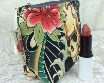 Handmade Zipper Case Zip Pouch fabric bag pencil case purse Alexander Henry Gothic Zen Charmer Skulls