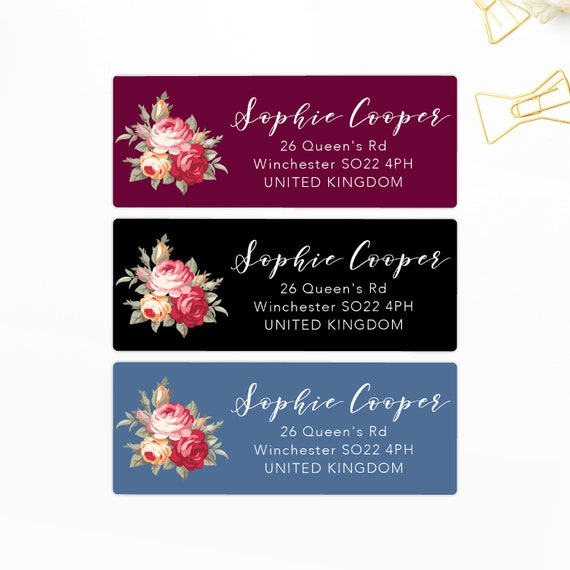 Custom Stickers Return Address Labels Floral Address Labels Packaging Labels Preprinted Address Labels Calligraphy Labels Personalized Gift