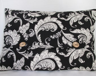 Decorative black and white paisley pillowcase