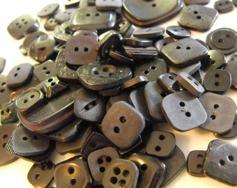 25 Black Square Buttons Grab Bag Assorted Multi Size Crafting Sewing Buttons