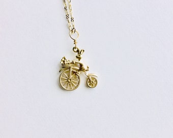 Bunny on Bike Aromatherapy Necklace