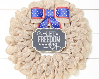 Summer Wreaths for Front Door Patriotic Wreath 4th of July Decorations Let Freedom Ring