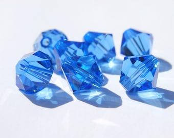 8 8 mm Sapphire Swarovski bicones