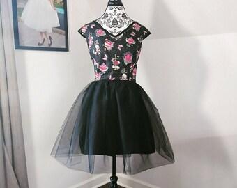 Women's Vintage Inspired Glitter Skull Tulle Dress