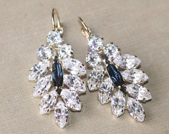 Bridal Navy Blue & Gold Earrings,Swarovski Crystal Climbing Earrings,Bridal Cluster Earring,Swarovski Earring,White Clear Crystal Earring
