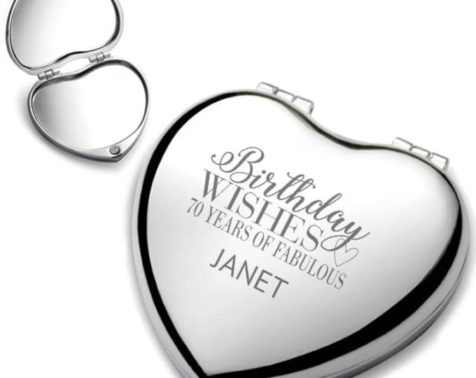 Personalised engraved 70TH BIRTHDAY heart shaped compact mirror birthday wishes gift idea, chrome plated - HEM-B70