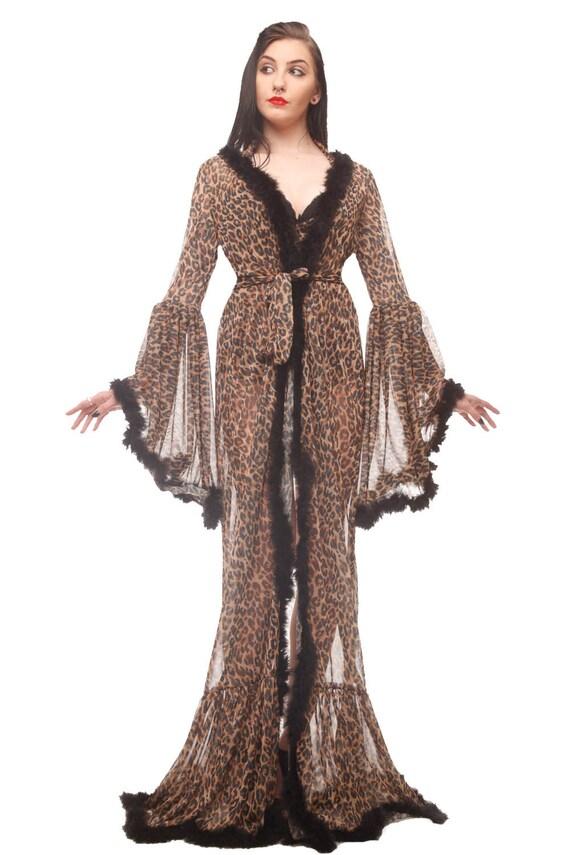 Boudoir Leopard Bademantel Burleske Tier Druck Morgenmantel