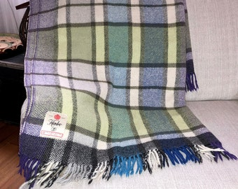 Checked retro wool blanket from mid century Scandinavia by Habo