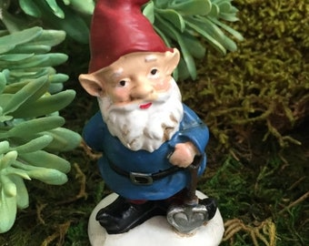 SALE Mini Garden Gnome With Red Hat, Blue Coat Figurine, Home and Garden Decor, Fairy Garden, Gnome Garden Accessory