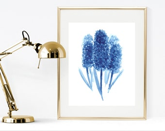 Blue watercolor flowers, hyacinths watercolor painting, cobalt blue wall art, instant download print, blue home decor,minimalist wall art