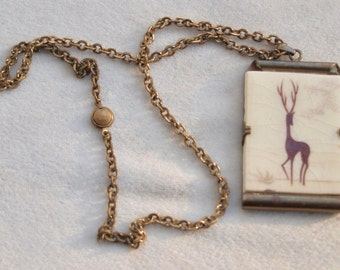 French Art Deco Deer Pendant Necklace