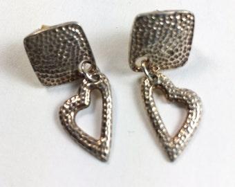 Heart Earrings-Dangling Heart Sterling Silver-Boho-Pierced-Hammered Antiqued Finish Vintage