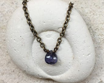 Iolite Necklace, Third Eye Chakra Gemstone Necklace, Healing Crystal Necklace