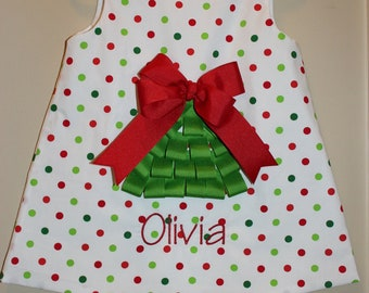 Girls Ribbon Christmas Tree Dress