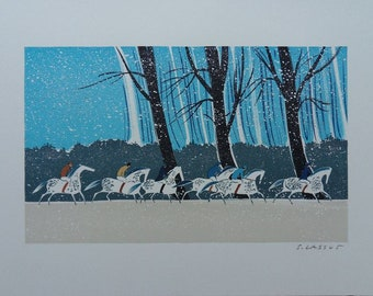 Serge LASSSUS :  Riders in winter - original LITHOGRAPH signed and numbered #250 copies +COA