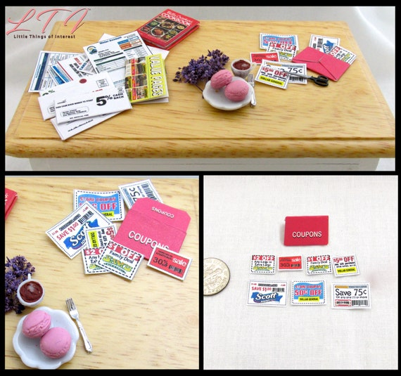COUPONS AND ORGANIZER Miniature Dollhouse 1:12 Scale Kitchen Mail Grocery Food
